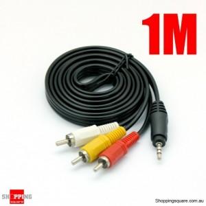 1m Mini Jack 3.5mm TV Plug AUX to 3RCA AV Cable