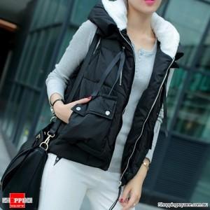 Women's Hooded Down Vest Short Jackets Black Colour Size 8