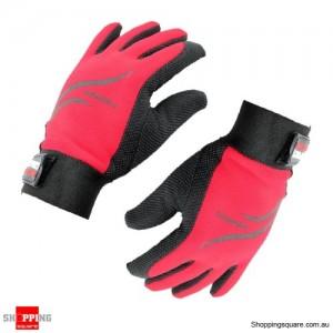 Women Non-Slip Full Finger Gloves Sports Cycling Red/Black Colour