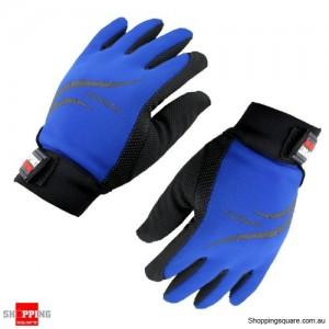 Women Non-Slip Full Finger Gloves Sports Cycling Blue/Black Colour