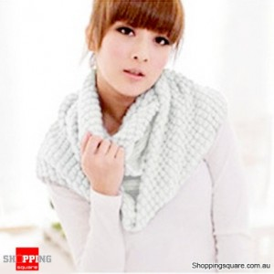 Girl's Lady Knitting Woolen Double Circles Long Scarf Corn Shawl Winter Warm White Colour