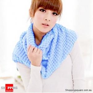 Girl's Lady Knitting Woolen Double Circles Long Scarf Corn Shawl Winter Warm Light Blue Colour