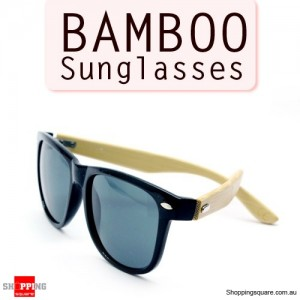Stylish Bamboo Temple UV 400 Protection Sunglasses - Black + Bamboo