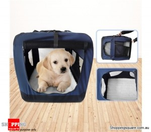 Portable Soft Crate Pet Carrier- 82cm Extra Large, Waterproof, Navy Blue
