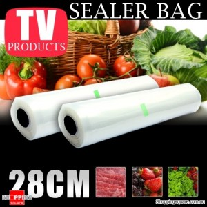 10m Vacuum Food Sealer Roll Bag 28cm Ribbed Saver Storage (2x 5m)