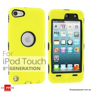 Case Cover For Heavy Duty iPod Touch 5 5th Silicon Skin With Yellow Colour +Black Case