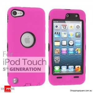 Case Cover For Heavy Duty iPod Touch 5 5th Silicon Skin With Pink Colour +Black Case