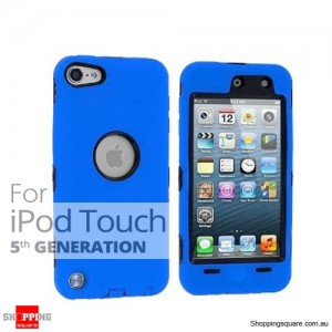 Case Cover For Heavy Duty iPod Touch 5 5th Silicon Skin With Blue Colour +Black Case