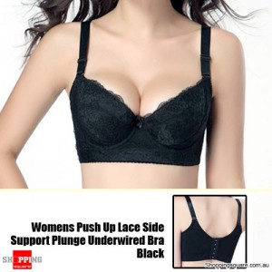Womens Push Up Lace Side Support Plunge Underwired Bra 85B Black Size 14