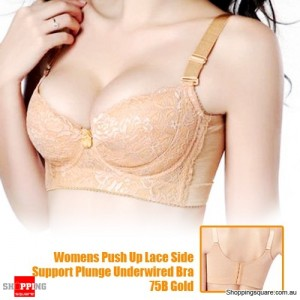 Womens Push Up Lace Side Support Plunge Underwired Bra 75B Gold Size 10
