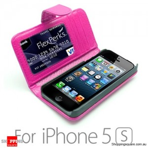 New Version Leather Wallet Card Flip Case Cover For iPhone 5 5S SE Pink Colour