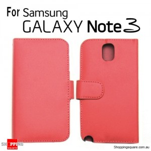 New Version Leather Wallet Card Flip Case Cover For Samsung Note III N9000 Red Colour