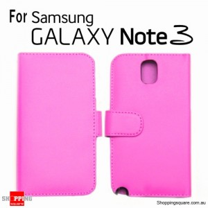 New Version Leather Wallet Card Flip Case Cover For Samsung Note III N9000 Pink Colour