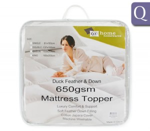 Queen Size 90% Duck Feather / 10% Duck Down Mattress Topper 650gsm