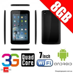 7 Inch Quad Core Android 4.4 Mobile Tablet 3G+GPS+Wifi Support MicroSDHC up to 32GB Black