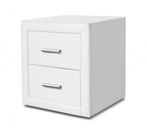 Set of White PU Leather Bedside Tables