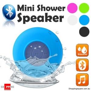 Waterproof Bluetooth Mini Shower Speaker Hands free Mic Speaker Blue Colour