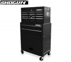 Shogun Mechanic Tool Box on Trolley with 8 Drawers, Side Handles and 4 Castors - Black
