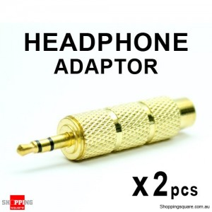 2 pcs Headphone Adaptor Gold 6.35mm Jack Socket to 3.5mm Plug