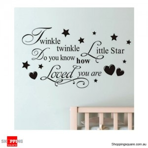 Twinkle Little Star Removable Nursery Wall Stickers Decal Home Kids Bedroom