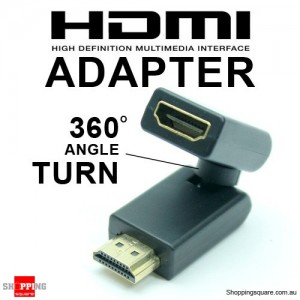 HDMI Male to Female 360 Degree Adapter - Black