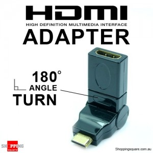 HDMI Female to Mini Male 180 Degree Adapter - Black