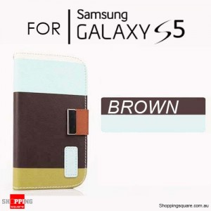 Colourful Leather Wallet Flip Case Cover For Samsung Galaxy S5 Brown Colour