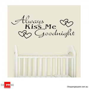 Good Night Kiss Removable Nursery Wall Stickers Decal Home Kids Bedroom