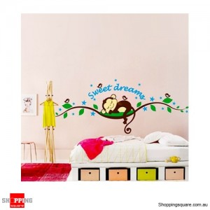 Dreams Monkey Removable Nursery Wall Stickers Decal Home Kids Bedroom