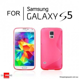 S Curve Transparent Case For Samsung Galaxy S5 Pink Colour