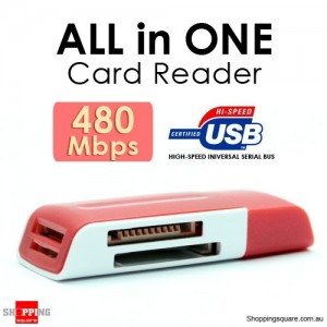 5 in 1 USB 2.0 Multi-Card reader Support MicroSD MS M2 MiniSD Red Colour