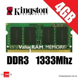 Kingston 4GB PC3-10600 1333Mhz DDR3 Sodimm Laptop Ram (KVR13S9S8/4)