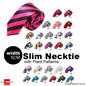 #02 Mens Necktie Tie Skinny Narrow Slim 5cm Plaid Patterns