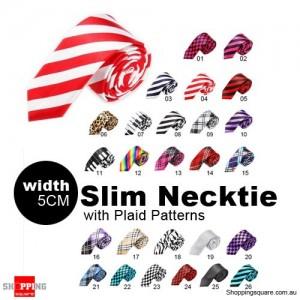 #04 Mens Necktie Tie Skinny Narrow Slim 5cm Plaid Patterns