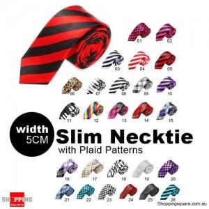 #05 Mens Necktie Tie Skinny Narrow Slim 5cm Plaid Patterns