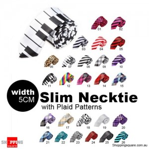 #07 Mens Necktie Tie Skinny Narrow Slim 5cm Plaid Patterns