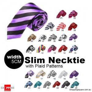 #10 Mens Necktie Tie Skinny Narrow Slim 5cm Plaid Patterns