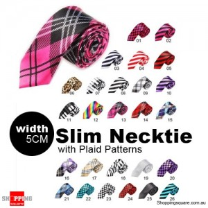 #13 Mens Necktie Tie Skinny Narrow Slim 5cm Plaid Patterns