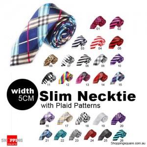 #15 Mens Necktie Tie Skinny Narrow Slim 5cm Plaid Patterns