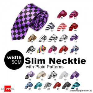 #20 Mens Necktie Tie Skinny Narrow Slim 5cm Plaid Patterns