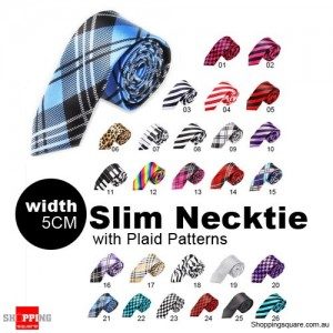 #21 Mens Necktie Tie Skinny Narrow Slim 5cm Plaid Patterns