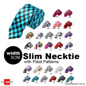 #22 Mens Necktie Tie Skinny Narrow Slim 5cm Plaid Patterns