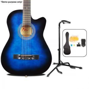 """38"""" Acoustic Cutaway Guitar Set & Stand Blue colour"""