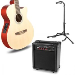 "39"" Electric Acoustic Cutaway Guitar Set & stand & Amplifier Blue color"