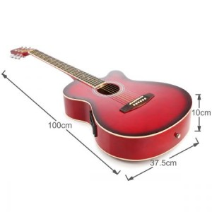 "39"" Electric Acoustic Cutaway Guitar Set & stand & Amplifier Red color"