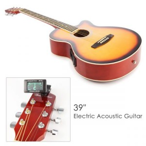 "39"" Electric Acoustic Cutaway Guitar Set & stand & Amplifier Sunburst color"