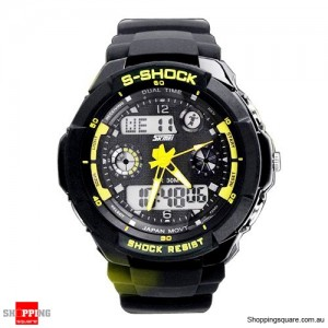 Men's running Digital Rubber Sports Watch Yellow Colour