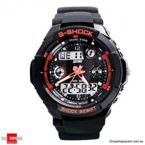 Men's running Digital Rubber Sports Watch Red Colour