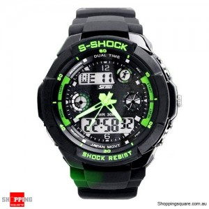 Men's running Digital Rubber Sports Watch Green Colour