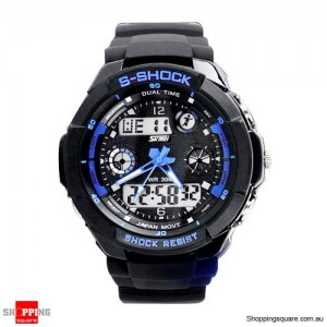 Men's running Digital Rubber Sports Watch Blue Colour